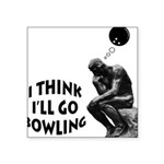 The Thinker Bowling Square Sticker 3