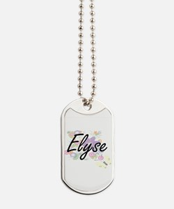 Elyse Artistic Name Design with Flowers Dog Tags