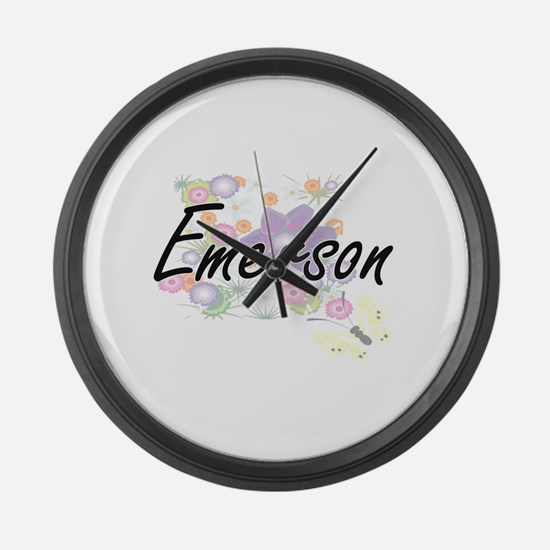 Emerson Artistic Name Design with Large Wall Clock
