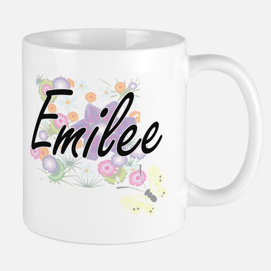 Emilee Artistic Name Design with Flowers Mugs