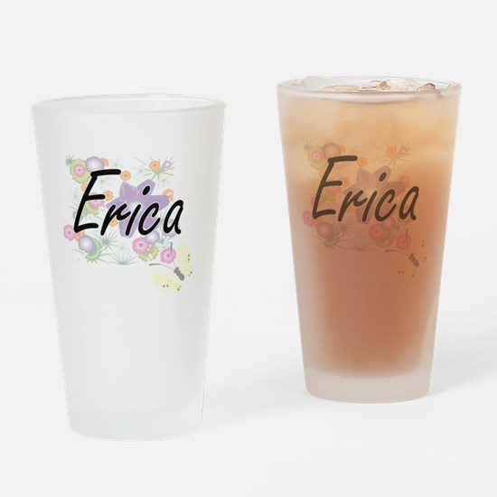 Erica Artistic Name Design with Flo Drinking Glass