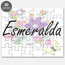 Esmeralda Artistic Name Design with Flowers Puzzle