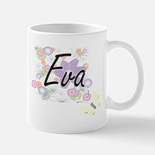 Eva Artistic Name Design with Flowers Mugs