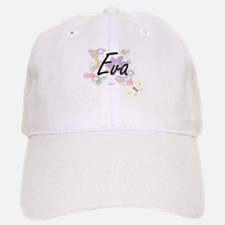 Eva Artistic Name Design with Flowers Baseball Baseball Cap