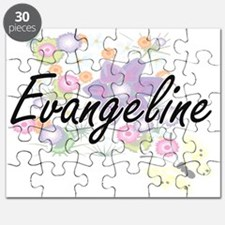 Evangeline Artistic Name Design with Flower Puzzle
