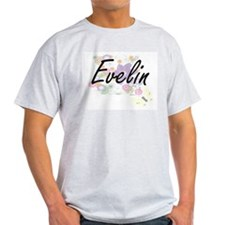 Evelin Artistic Name Design with Flowers T-Shirt