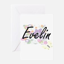 Evelin Artistic Name Design with Fl Greeting Cards
