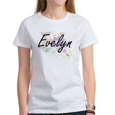 Evelyn Artistic Name Design with Flowers T-Shirt