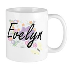 Evelyn Artistic Name Design with Flowers Mugs