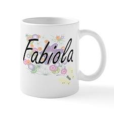 Fabiola Artistic Name Design with Flowers Mugs