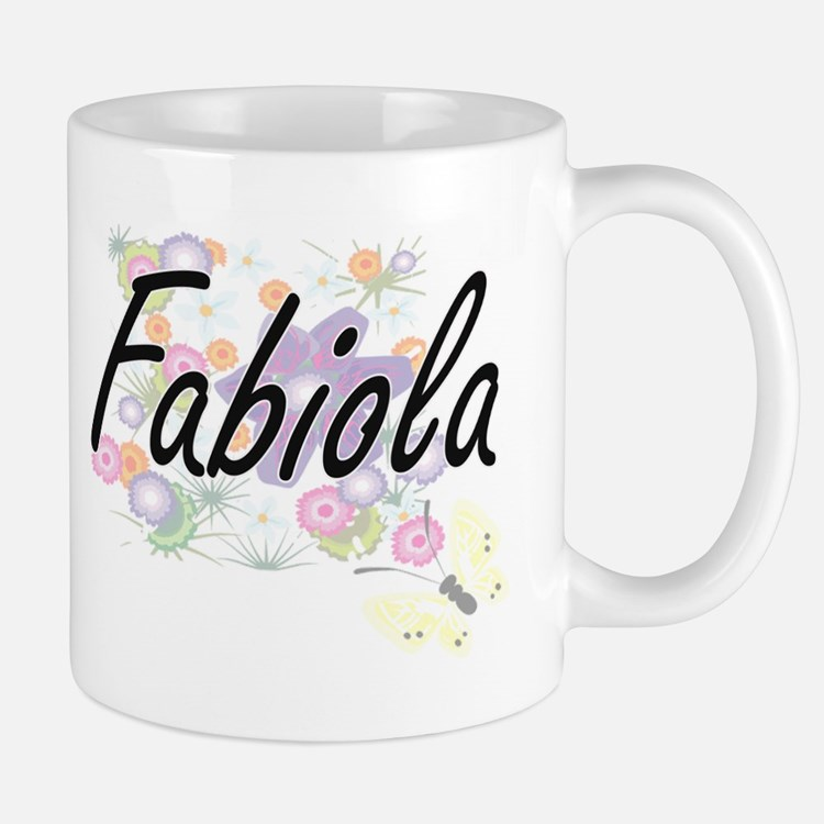 Fabiola Artistic Name Design with Flowers Mugs