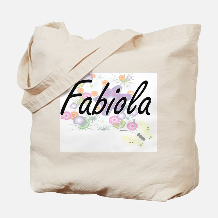 Fabiola Artistic Name Design with Flowers Tote Bag
