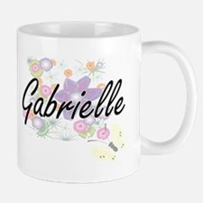Gabrielle Artistic Name Design with Flowers Mugs