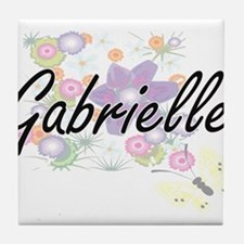 Gabrielle Artistic Name Design with F Tile Coaster