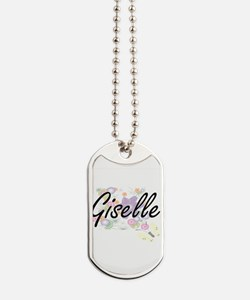 Giselle Artistic Name Design with Flowers Dog Tags