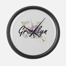 Gracelyn Artistic Name Design wit Large Wall Clock