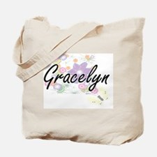 Gracelyn Artistic Name Design with Flower Tote Bag