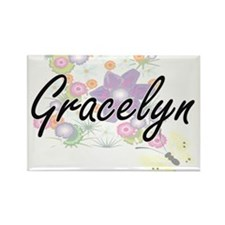 Gracelyn Artistic Name Design with Flowers Magnets