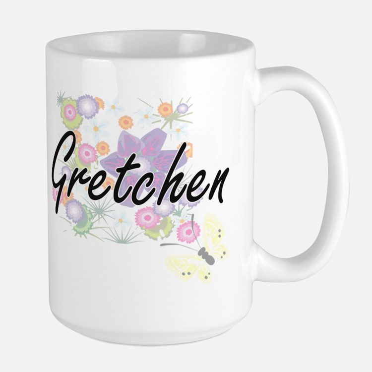 Gretchen Artistic Name Design with Flowers Mugs