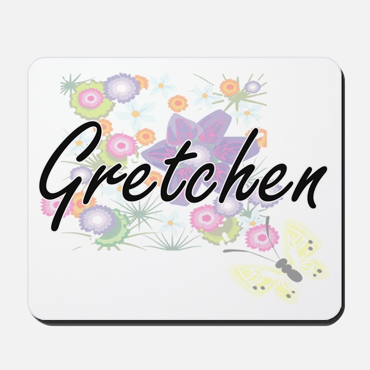Gretchen Artistic Name Design with Flowe Mousepad