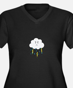 Grumpy cloud with lightnings Plus Size T-Shirt