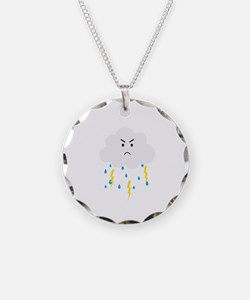 Grumpy cloud with lightnings Necklace