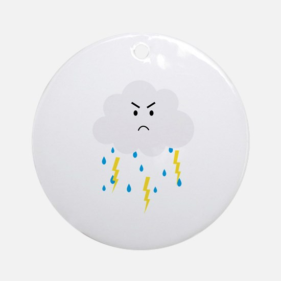 Grumpy cloud with lightnings Round Ornament