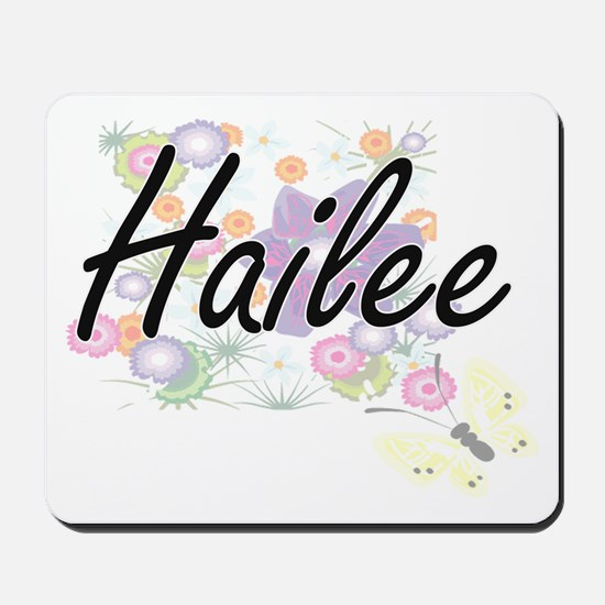 Hailee Artistic Name Design with Flowers Mousepad