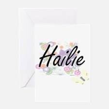 Hailie Artistic Name Design with Fl Greeting Cards