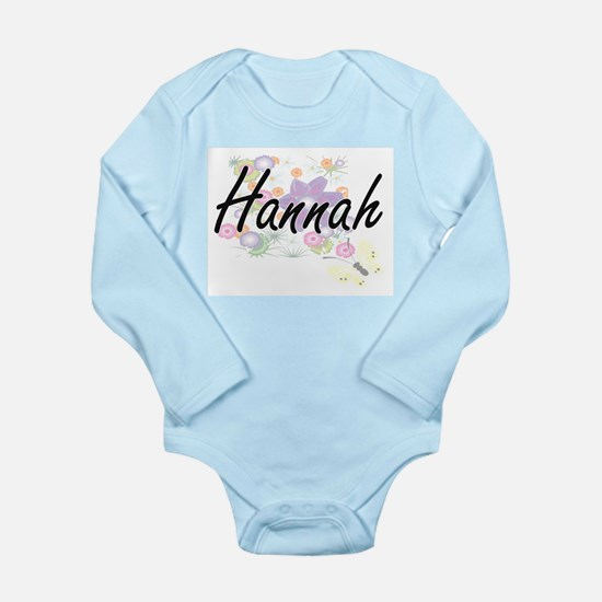 Hannah Artistic Name Design with Flowers Body Suit