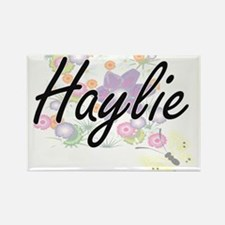 Haylie Artistic Name Design with Flowers Magnets