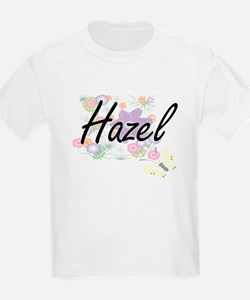 Hazel Artistic Name Design with Flowers T-Shirt