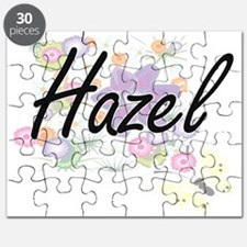 Hazel Artistic Name Design with Flowers Puzzle