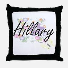 Hillary Artistic Name Design with Flo Throw Pillow