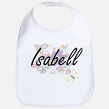 Isabell Artistic Name Design with Flowers Bib