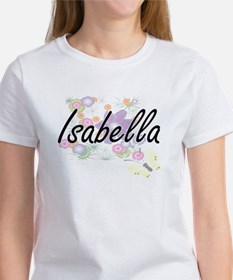 Isabella Artistic Name Design with Flowers T-Shirt