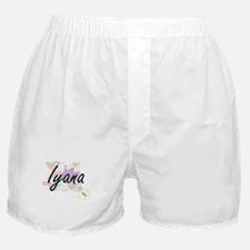 Iyana Artistic Name Design with Flowe Boxer Shorts