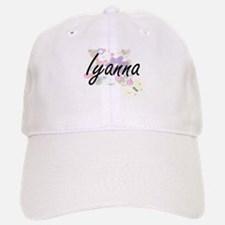 Iyanna Artistic Name Design with Flowers Baseball Baseball Cap