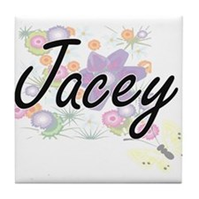 Jacey Artistic Name Design with Flowe Tile Coaster