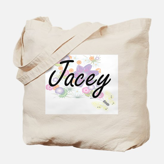 Jacey Artistic Name Design with Flowers Tote Bag