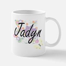Jadyn Artistic Name Design with Flowers Mugs