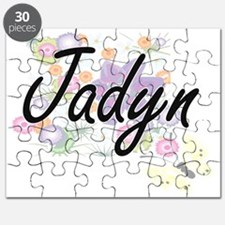 Jadyn Artistic Name Design with Flowers Puzzle