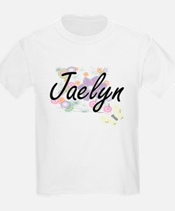 Jaelyn Artistic Name Design with Flowers T-Shirt
