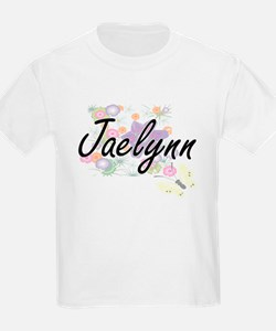 Jaelynn Artistic Name Design with Flowers T-Shirt