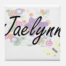 Jaelynn Artistic Name Design with Flo Tile Coaster