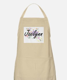 Jaelynn Artistic Name Design with Flowers Apron