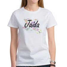 Jaida Artistic Name Design with Flowers T-Shirt