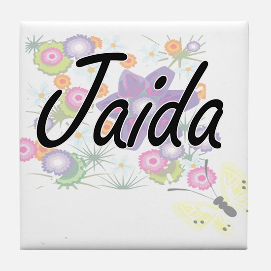 Jaida Artistic Name Design with Flowe Tile Coaster
