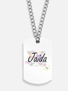 Jaida Artistic Name Design with Flowers Dog Tags