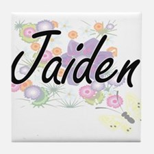 Jaiden Artistic Name Design with Flow Tile Coaster